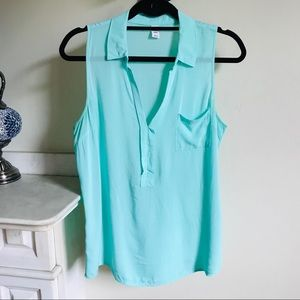 Mint Green Flowy Lightweight Sleeveless Collar Top